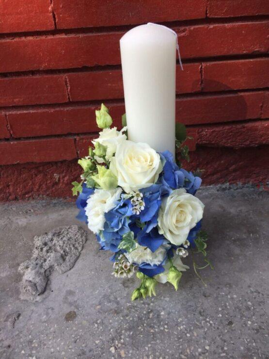 Lumanare de botez - Hortensia Blue